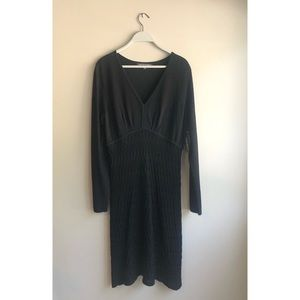 NWT JONES WEAR DRESS BLACK LONG SLEEVE M